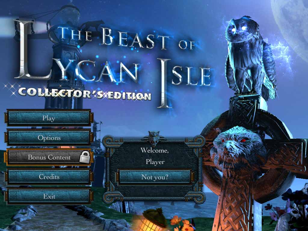 The Beast of Lycan Isle Walkthrough: Title Screen