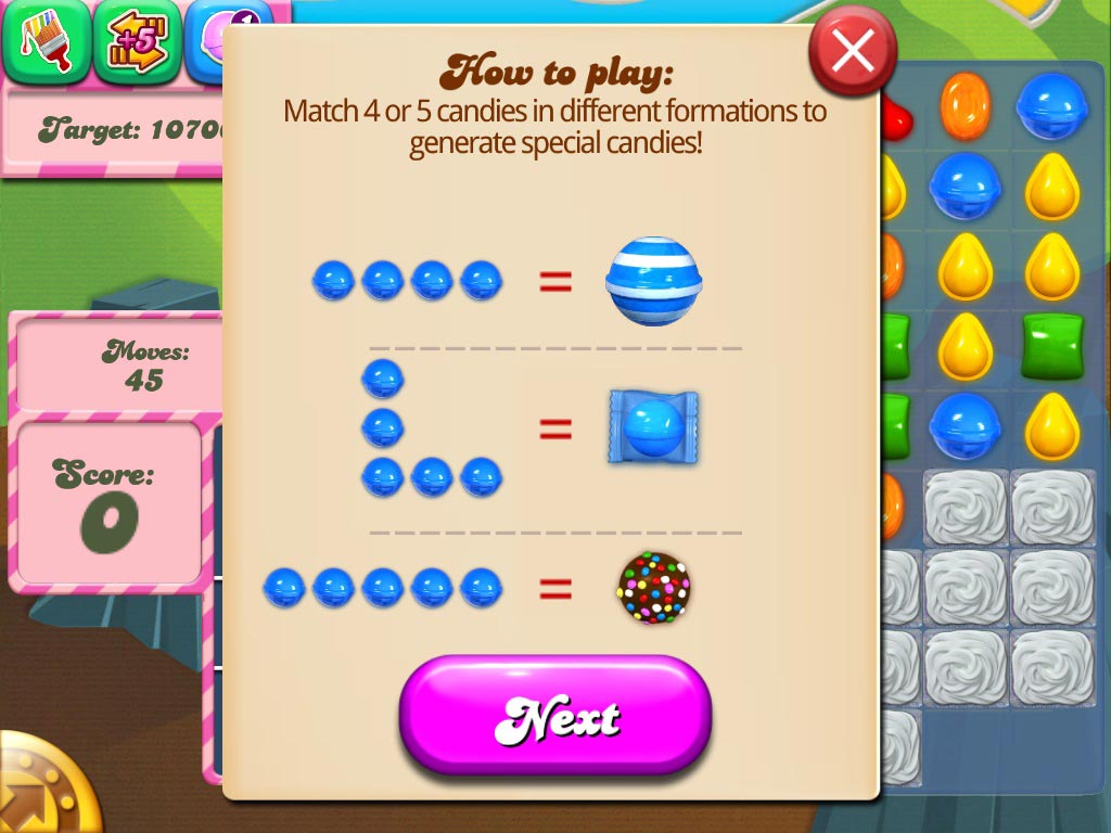 Candy - When you combine 4 candies, you will get a striped candy