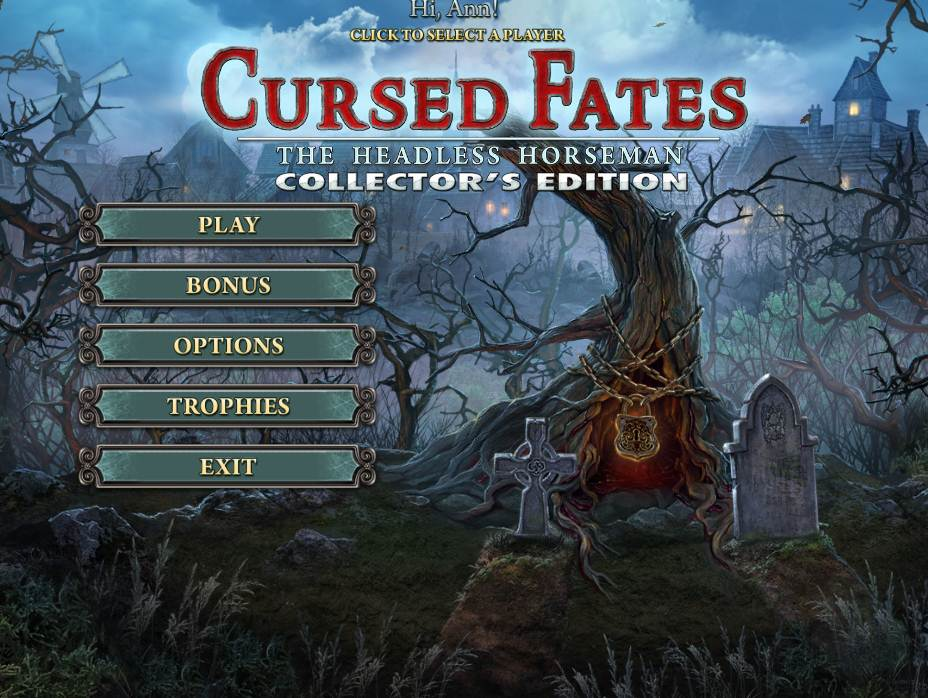 Cursed Fates: The Headless Horseman Walkthrough: Title Screen