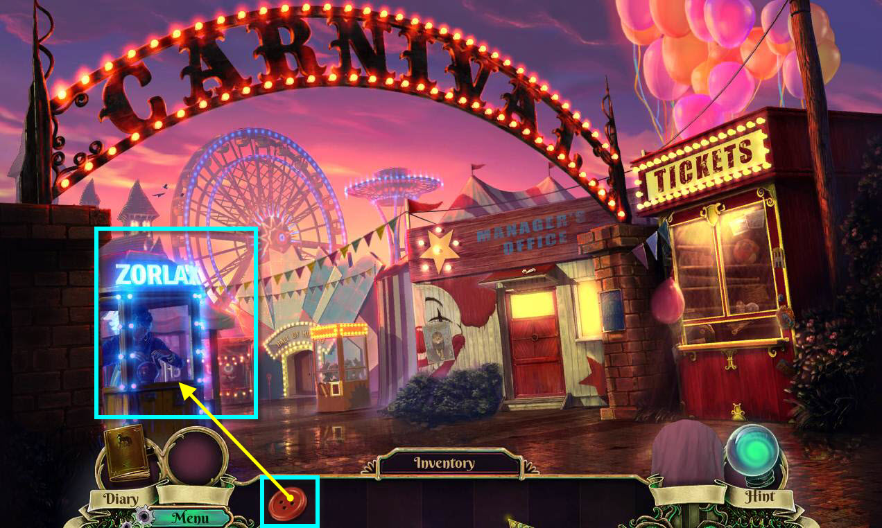 Dark Arcana: The Carnival Walkthrough: Zorlax Machine