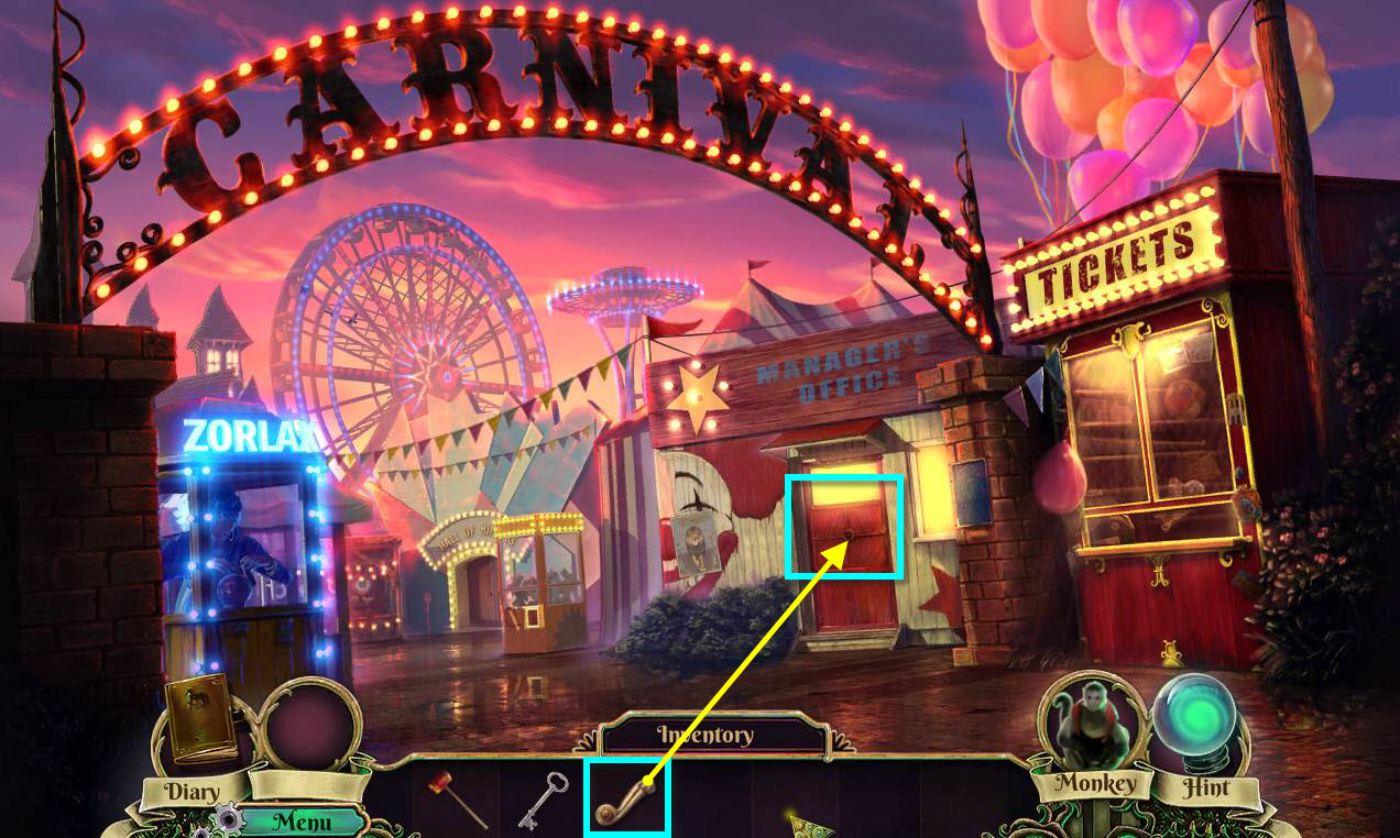 Dark Arcana: The Carnival Walkthrough: Door Handle