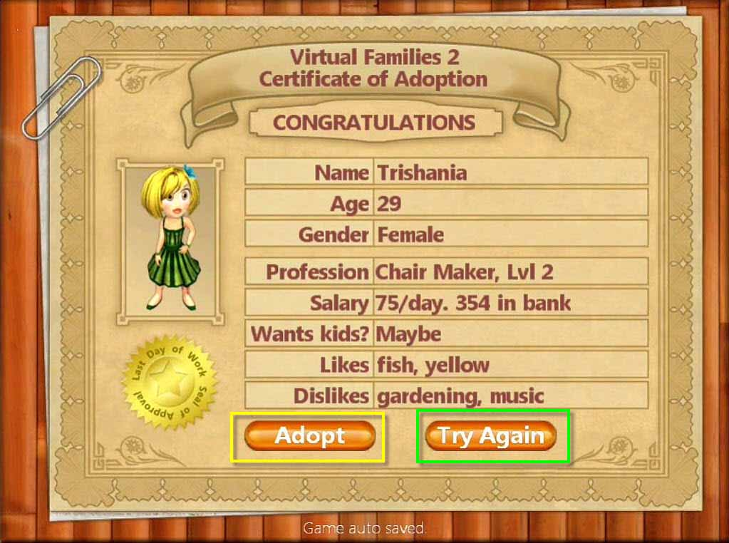 Virtual Families 2: Our Dream House Walkthrough: Adoption
